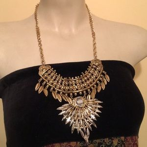Egyptian Queen Pharaoh Statement Necklace Feathers
